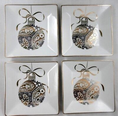222 Fifth~Set 4~Sugarplum~Gold Christmas Ornaments~Xmas~Appetizer Plates~More!