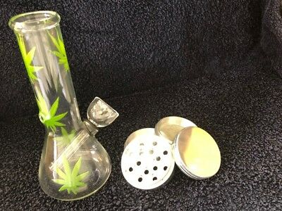 "Hookah Water Pipe Bong Glass 6"" in Leaf Bubbler 2"" in Metal Tobacco Grinder 4 PC"