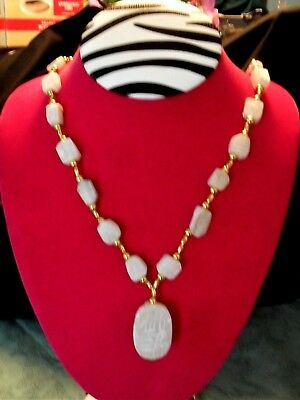 Vintage Egyptian Carved White Soapstone Scarab Beetle Stone Necklace