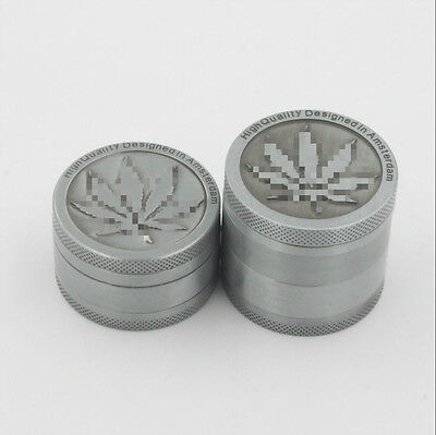 3-Piece Herb Grinder Spice Tobacco/Weed Smoke Zinc Alloy Crusher Leaf Design