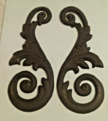 """2 Ornate 12"""" Cast Iron Paisley Curved Architectural Building Decoration Salvage"""