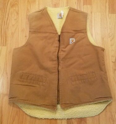 Carhartt Mens XL Tall Sherpa Fleece Lined Vest Tan/Brown