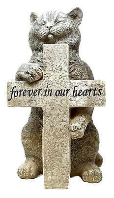 Stone Effect Graveside Memorial Pet Cat Figurine Marker Cross Grave Ornament