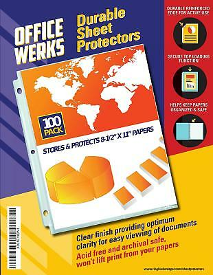 """Clear Sheet Protectors, 8.5"""" x 11"""", 100 Pack, Durable, Top Load,Reinforced"""