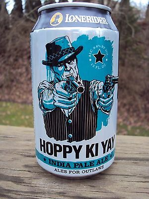LONERIDER * HOPPY KI YAY * IPA 12oz beer can Raleigh,NC * ALES FOR OUTLAWS *