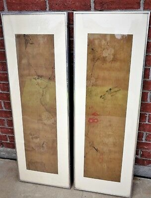 Antique Pair of Framed Chinese Qing Dynasty Watercolor on Silk Paintings-19th C