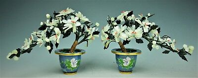 Pair of Chinese Copper Enamel Cloisonne Bowl With Jade Tree Flowes 20th centur