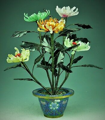Beatiful Chinese Copper Enamel Cloisonne Bowl With Jade Tree Flowes 20th century