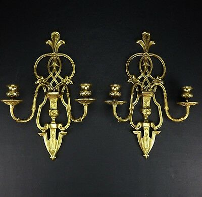 "Vintage Antique Pair of Solid Brass 2 Arm Candle Sconces Candelabras 16""x10"" ea."