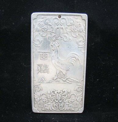 Collectable Handmade Carved Statue Tibet Silver Amulet Pendant Zodiac Chicke
