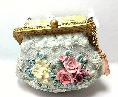 Victorian Style Purse Christmas Ornament w/ Fringe & Flowers