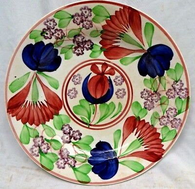 Spongeware Plate Pottery English Hand Painted Porcelain Flower Rare Collectibles