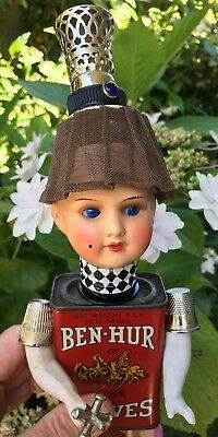 Puppen Spielzeug OOAK Steampunk Assemblage ARTIST DOLL Antique Mixed Media GOOGLY Head 'Colman'
