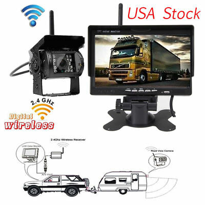 "Wireless 7""HD Monitor IR Night Vision Rear View Camera CCD RV Truck Bus Trailer"