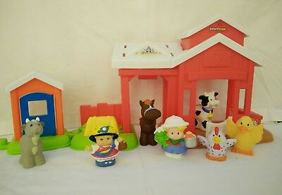 Fisher Price Little People Farm Play Set Barn Stable Horse Cow Chicken Farmer
