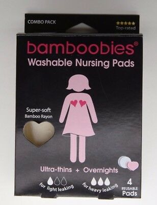 NEW Bamboobies Super Soft Washable Nursing Pads 2 sets: Ultra thin & Overnights