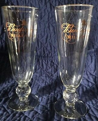 Set Of 2 Budweiser Millennium Pilsner Beer Glasses Gold Script 2000