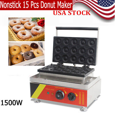 SALE Small Business Round Donut Maker Making Machine. 15 Pcs Nonstick Electric