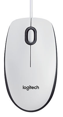 Logitech M100 USB Wired Optical Mouse - White
