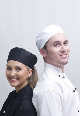 3 Chef's Flat Top Hat, Black or White, Unisex, 1 size Fit all, Sydney Stock