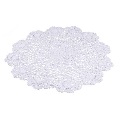 Vintage Floral Hand Crochet Cotton Lace Doily Round Flower Table Placemat Décor