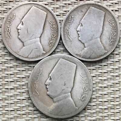 Lot Of Old Egyptian Coins, King Fouad Fuad,5 & 10 Milliemes, Egypt Coin X 3.