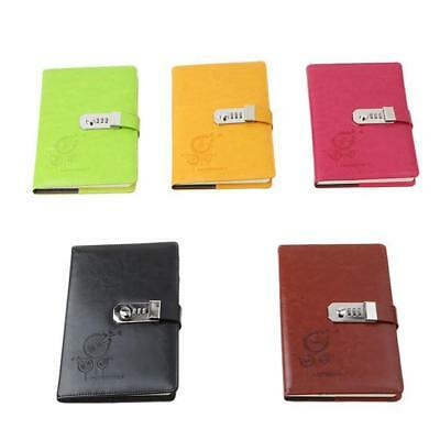 Delicate Journal Diary Note Book PU Leather Password Code Lock Notebook L