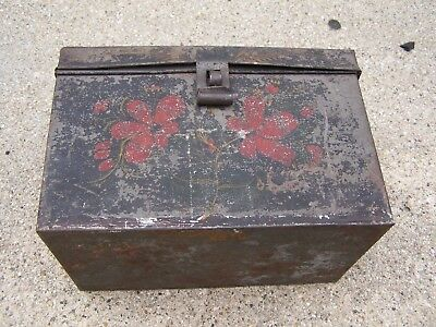 Antique Toleware Americana Hand Painted Floral Lunch Box Tin Metal Box