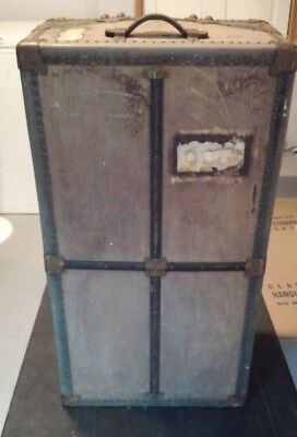 Vintage antique wardrobe USA Trunk Co  Steamer Trunk with drawers Ship Luggage