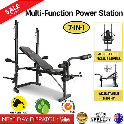 Multi Function Weight Bench Press Squat Workout Power Station Home Gym 7-in-1
