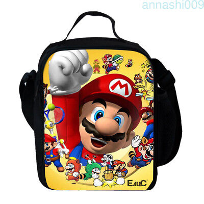 HOT Mario Insulated Lunch Bag Girls Boys School Snack Box Backpack UK Gifts