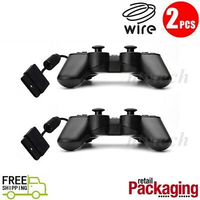 2X New Black Twin Shock Game Controller Joypad Pad for Sony PS2  Free Shipping