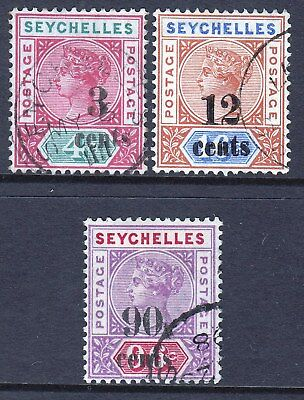 Seychelles QV 1893 Overprints Used Values 3c, 12c & 90c SG 15/17/21