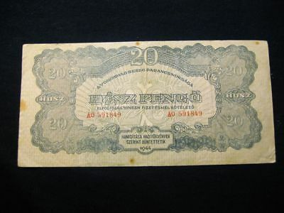 Hungary 20 Pengo 1944 Wwii Red Army Issue - Soviet Occupation