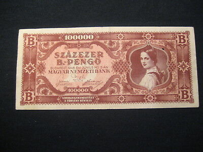HUNGARY 100000 B.-PENGŐ PENGO 1946 HYPERINFLATION (100000 x BILLION)