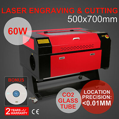 60W CO2 Laser Machine Engraving Cutting Engraver Cutter 500mm*700mm USB