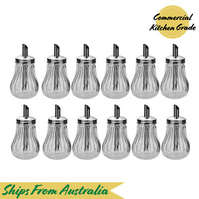 12x Sugar Holder with Pourer 'Tilt-a-Spoon' 285mL, Glass Body, Cafe / Restaurant