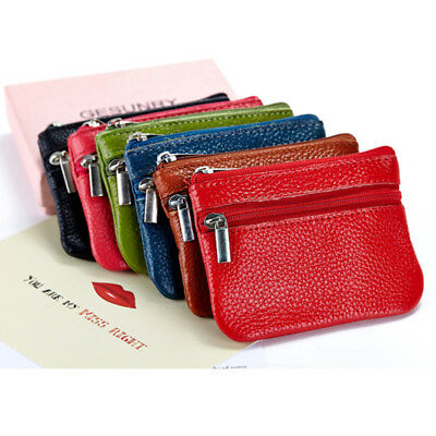 Women Card Coin Key Holder Zip Pouch bag Purse Soft Genuine Leather Wallet