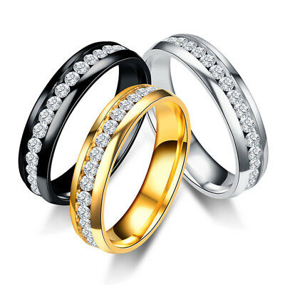 Fashion Women Rhinestone Ring Classic Wedding Couple Rings Stainless Steel Gift