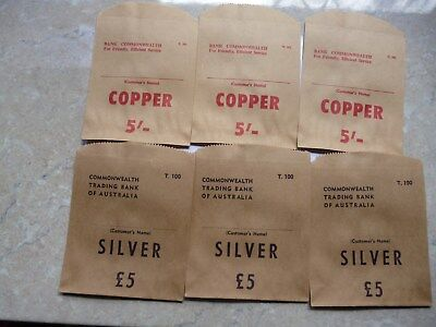 Commonweath Trading Bank PRE DECIMAL Paper coin bags 3 X Silver and 3 X Copper