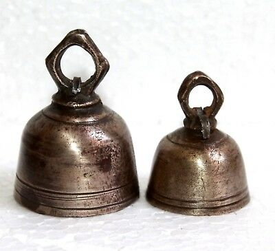 Old 1920s Two Antique Hand Made Bronze Mixed Solid Brass Bells with New Pendulum