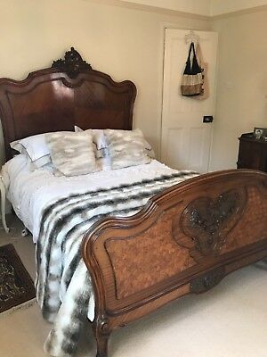 French Louis XV provincial style walnut double bed,carved tumbling block design