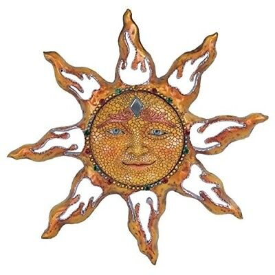 YELLOW MOSAIC CELESTIAL Sun Face Hanging Wall Plaque Decoration Home ...