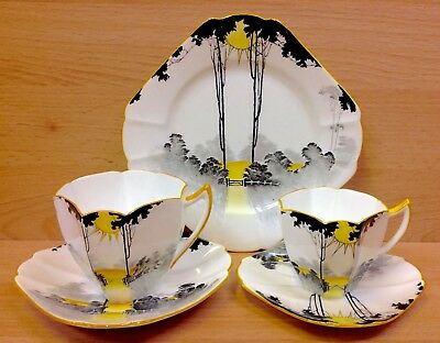 "Shelley Queen Anne Shape ""Sunrise & Tall Trees"" Pattern Tea Trio & Coffee Duo."