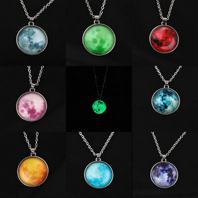 Full Fluorescent Rising Moon Glow In The Dark Luminous Chain Pendant Necklace