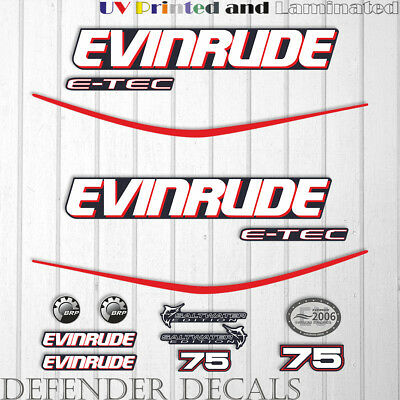 Evinrude 75hp e-tec outboard engine decal sticker set kit reproduction Blue Cowl