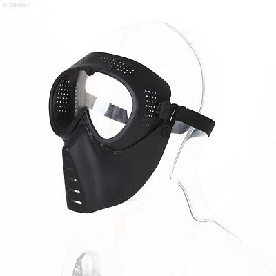 09BB Protective Airsoft Paintball Tactical Full Face Safety Mask Clear Lens Blac