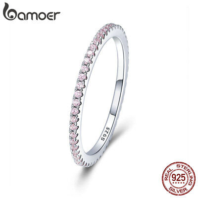 Bamoer Solid 925 Sterling Silver Ring Contracted Elves With CZ For Women Jewelry