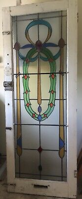 Rare Victorian Coloured Leaded Stained Glass Front Door