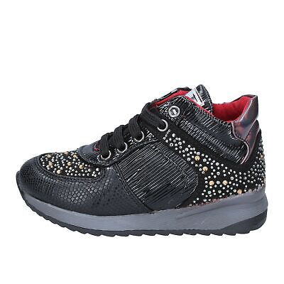 scarpe bambina ASSO sneakers nero pelle strass BT316